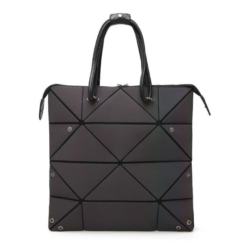 Bag Changeable shape Luminous Purses Top Handle Satchel Shoulder Large Handbags Leather Rainbow Holographic Bag 1