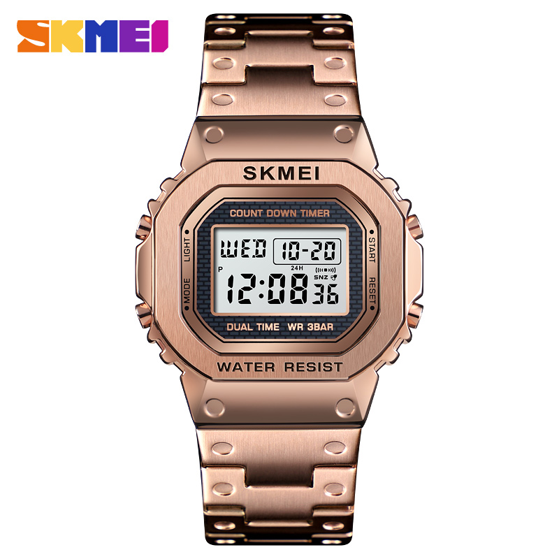 Men's <font><b>G</b></font>-Style Digital <font><b>Watches</b></font> Luxury Stainless Steel Square Electronic Wristwatches <font><b>Womens</b></font> <font><b>Shock</b></font> LED Sprots <font><b>Watch</b></font> Men SKMEI 201 image