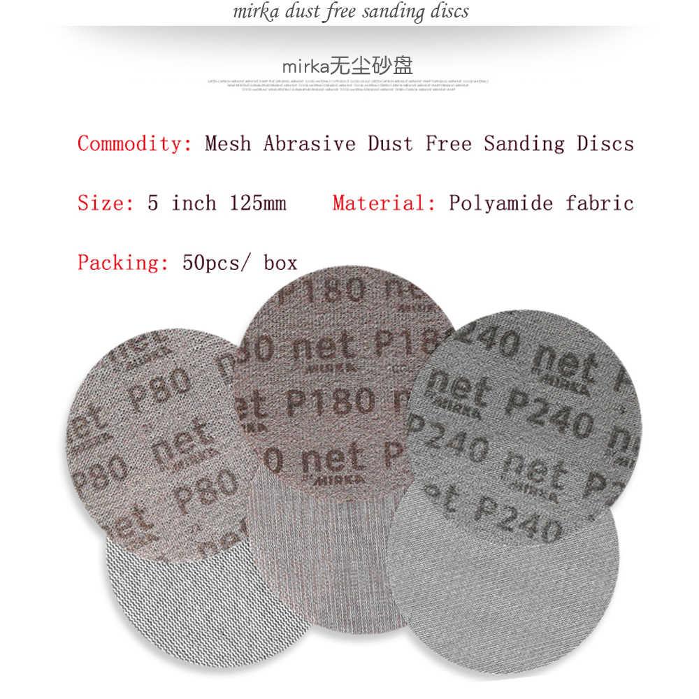 15Pcs ตาข่ายขัดฝุ่นฝุ่นละออง 5 นิ้ว 125 มม.Anti-blocking แห้งบดกระดาษทราย 80 240 กรวด