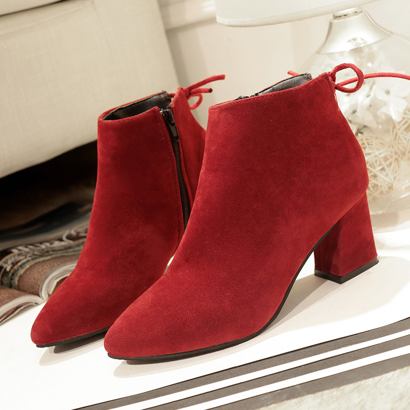 Plus size women's winter shoes red boots woman botines mujer 2018 boots women autumn square high heels women shoes ankle boots цена 2017