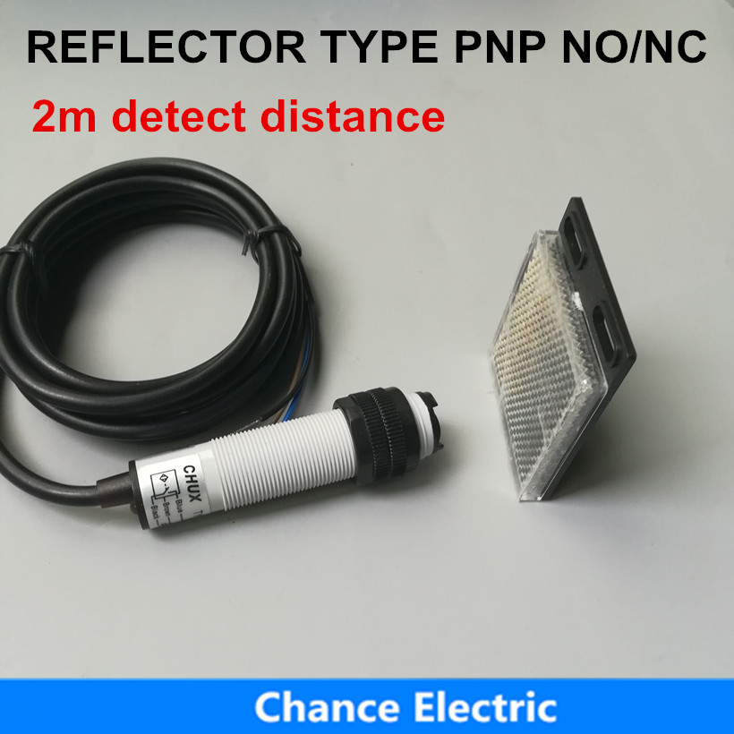 Free Shipping Photoelectric Sensor pnp E18-3B2PA PB 3 Wire 2m Distance Mirror Type Reflector Switch