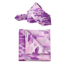 Korean Silk Bridegroom Wedding Party Business Men Tuxedo Suit Purple Violet Camouflage Pocket Square Towel Handkerchief Tie Set
