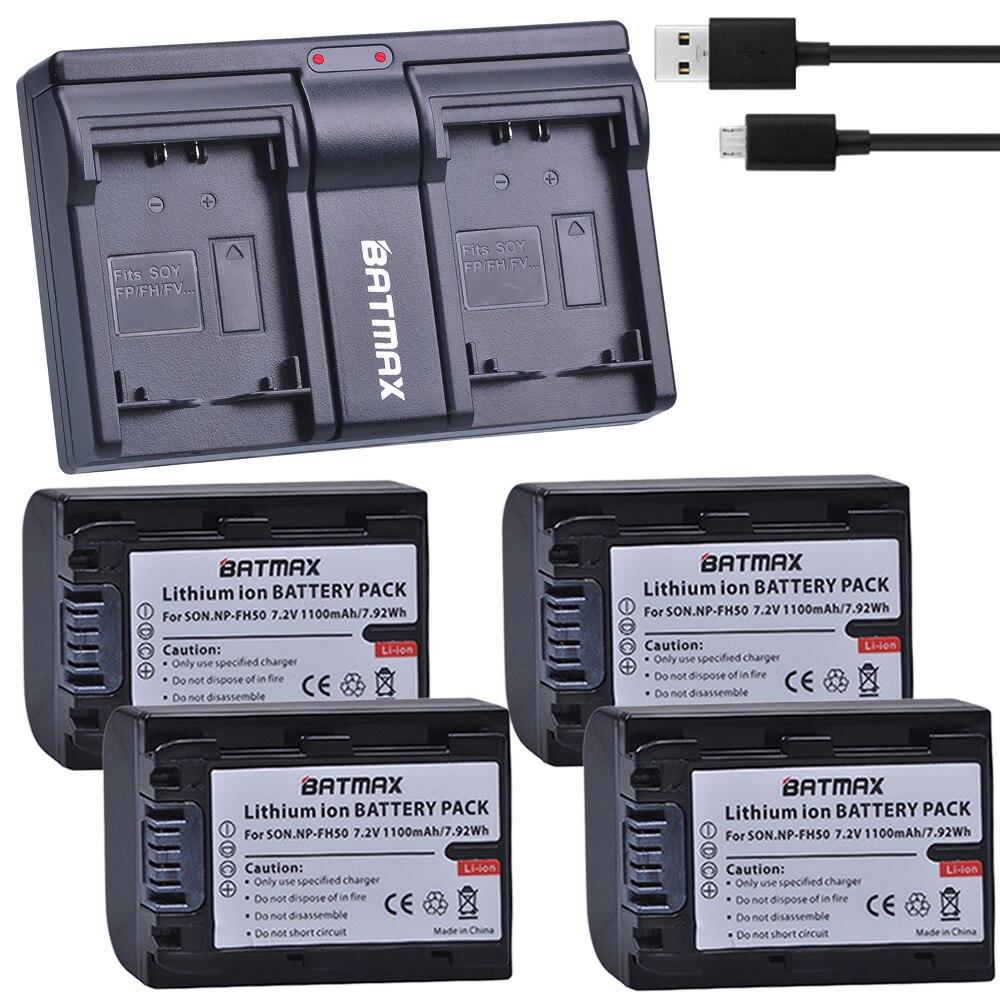 4 pièces 1100 MaH NP-FH50 NP FH50 Batterie + USB USB Chargeur pour Sony A230 A330 A290 A380 A390 HDR-TG1E TG3 TG5 TG7 DSC-HX1 DSC-HX200