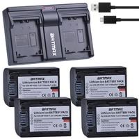 4Pcs 1100MaH NP FH50 NP FH50 Battery + USB USB Charger for Sony A230 A330 A290 A380 A390 HDR TG1E TG3 TG5 TG7 DSC HX1 DSC HX200