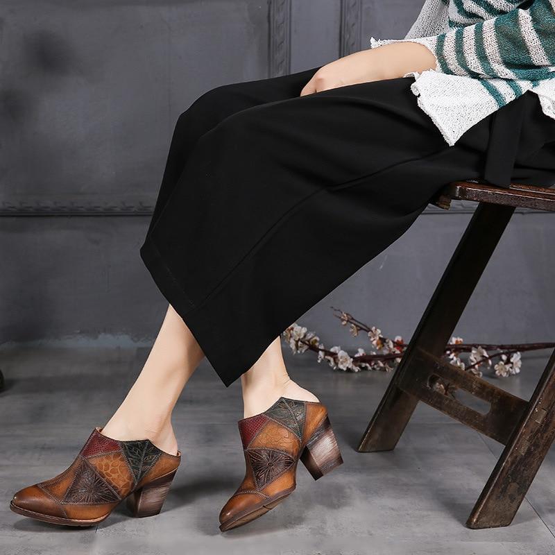 Tyawkiho 2018 женщин кожи мулы вышивка тапочки острым носом женщин 7 см высокие каблуки из натуральной кожи летняя обувь ручной работы