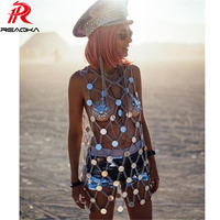 Sexy Metal chain Sparkling Summer Dress Women Beach Mesh Shining Sequins Dress luxury Nightclub Party Dresses 2018 New Vestidos