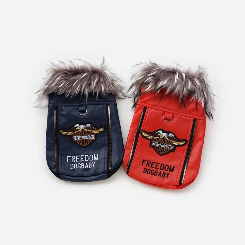 Luxury Dog Clothes Blue Red Leather Dog Coat Pet Jacket Winter Coats for Small Dogs Chihuahua