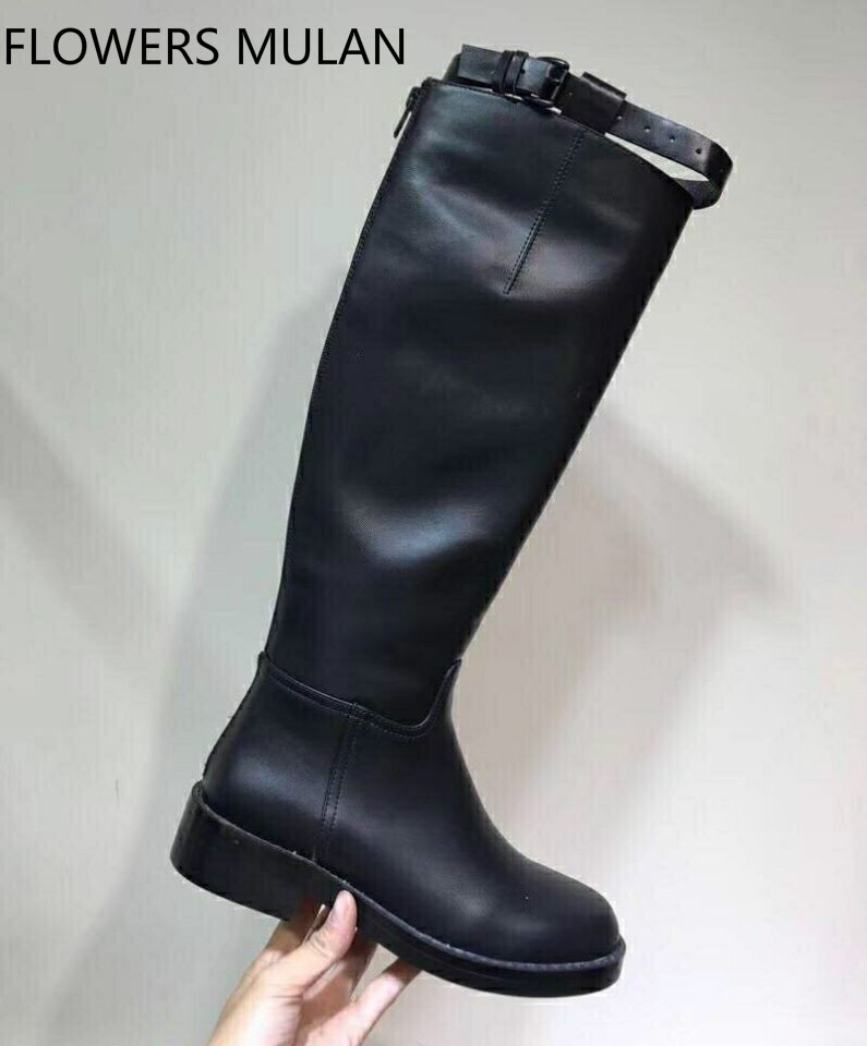 Black Real Leather Long Boots For Women Round Toe Sewing Belt Buckle Cool British Military Boots Back Zip Low Heel Shoes LadyBlack Real Leather Long Boots For Women Round Toe Sewing Belt Buckle Cool British Military Boots Back Zip Low Heel Shoes Lady