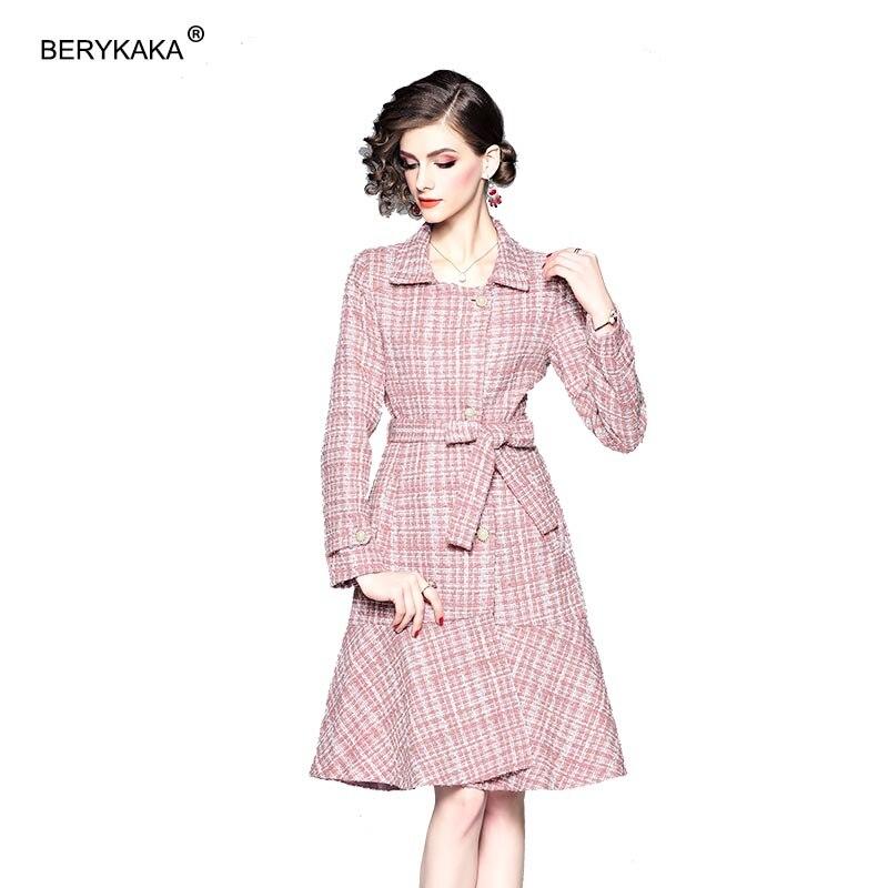 Новые зимние элегантные розовые твидовое платье для женщин двойной Dreasted пояса длинные Хаундстут одежда корейская верхняя оборками пальт