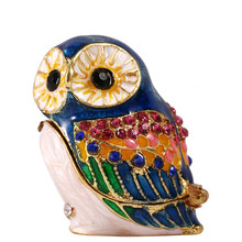 1.5*1.3IN Metal Blue Owl Trinket Box Earring Ring Storage Wedding Jewelry Case  Souvenirs Decorate Figurine Birthday Gift Crafts