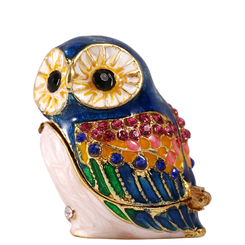 H&D 1.5inch Blue Owl Hinged Trinket Box Bejeweled Hand-Painted Ring Holder Animal Figurine Collectible Gift Craft For Christmas