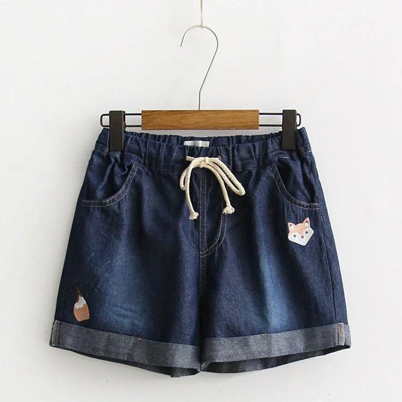 Summer Mori Girl Casual Sweet Cowboy Shorts Women Cute Fox Embroidered Drawstring Pocket Denim Female Vestido Shorts Z109