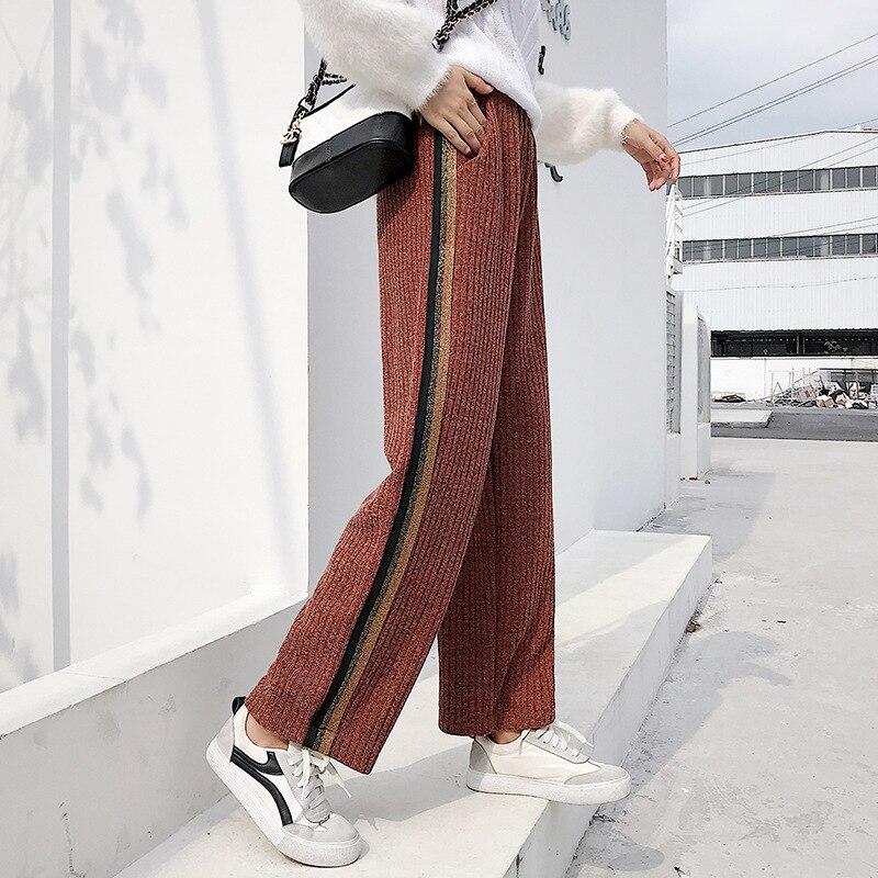2018 plus size   Wide     Leg     Pants   Women Elegant Casual woolen   Wide   Trousers Women Pantalon Mujer High elastic Waist Womens   Pants     Leg
