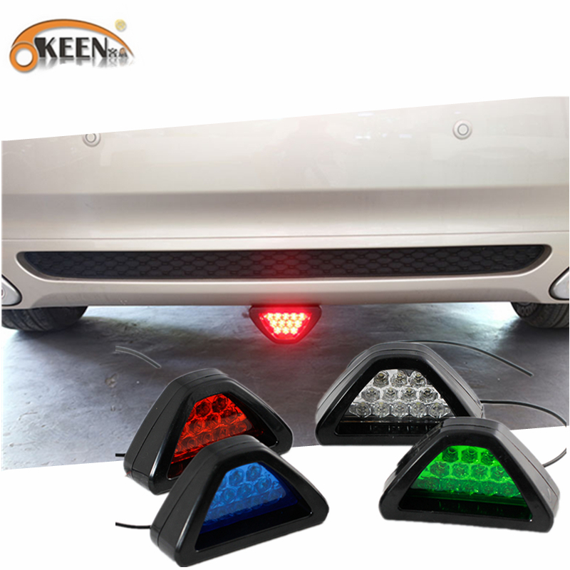 OKEEN Car LED Brake lights Parking Warning Fog Tail Lights Strobe Flashing Rear Reflector Light White Blue Green Red Diode Lamps