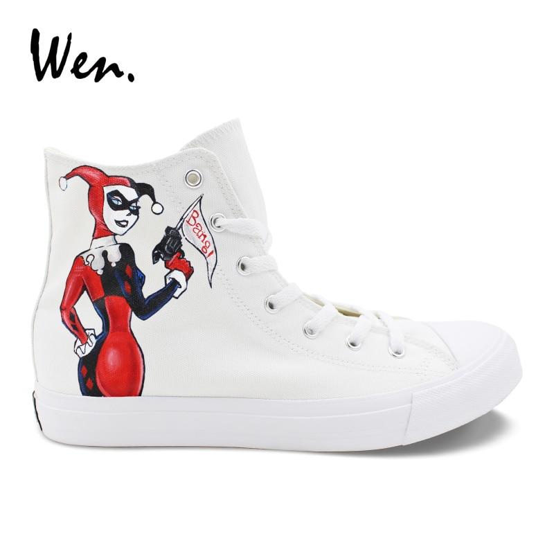 d98b6372c793 Wen Casual Women Shoes Design Hand Painted Joker Harley Quinn Canvas  Sneakers Men High to Help Platform Flat Lacing Plimsolls