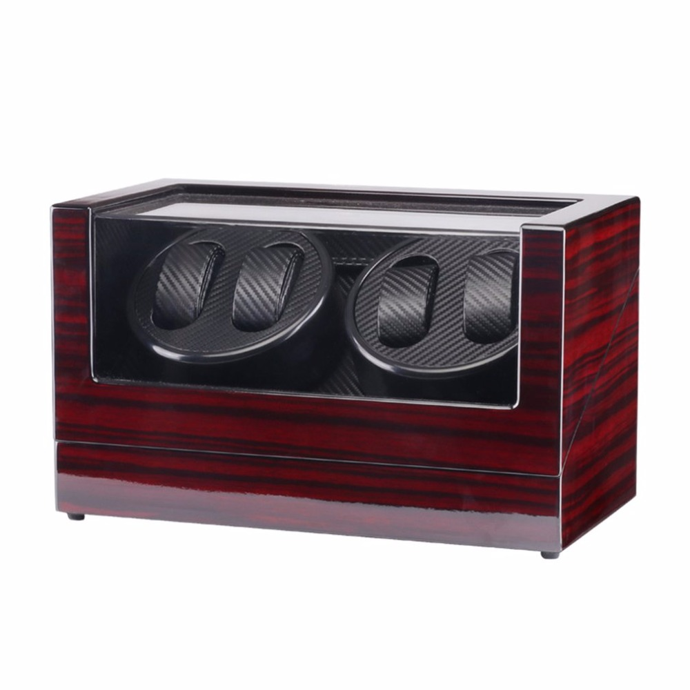 Use 110-240V AC/DC ADAPTOR Wooden Glossy 4 Grids Watch Winder Box For Watches Shop Display Rotate Watch Case Automatic Casket latest leather watch winder portable round type 3 mode aa batteries ac adaptor suitbale mini automatic watch winder