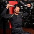 2016 Conjuntos De Compressão Homem Shirst T + Calças de Manga Longa dos homens Formadores de Musculação Exercício Fitness Workout Roupas Homme