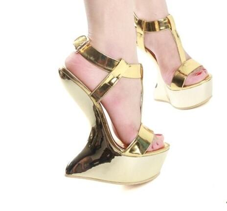 Moraima Snc Summer Strange Heels Sandal for Woman Sexy Open Toe T-strap Platform Wedge Shoes Gold Leather Ankle Strap High HeelsMoraima Snc Summer Strange Heels Sandal for Woman Sexy Open Toe T-strap Platform Wedge Shoes Gold Leather Ankle Strap High Heels