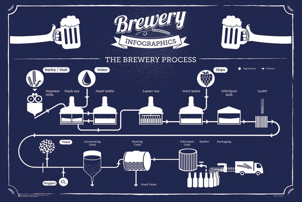 BREWING INFOGRAPHIC BEER CHART LIST HOME BREW BREWERY SILK POSTER Decorative Wall painting 24x36inch image