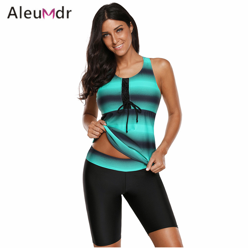Aleumdr 2018 Swimwear Women Tankini Retro Print Racerback Two Pieces Swimsuit Plus Size LC410663 Costumi Da Bagno Donna