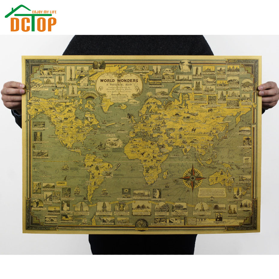 online get cheap wall mural aliexpress com alibaba group world wonders retro poster kraft paper wall decorative stickers creative wall mural painting design home decor