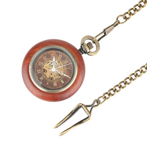 Image 3 - Vintage Red Wooden Case Mechanical Pocket Watch Chain Automatic Self wind Watches Fob Open Face Unisex Clock Gifts for Men Women