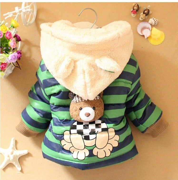Купить с кэшбэком Boys Jackets Cartoon Bear Baby Boys Coat Tops Clothes Kids Winter Warm Cotton Hoodies Coat Children Fashion Outerwear Clothing