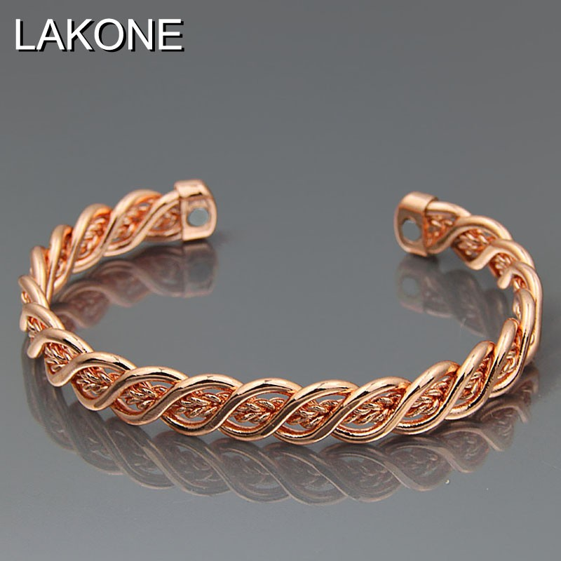 Pure Copper Magnetic Wrist Bangle Bracelet for Pain relief Rheumatic Arthritis Braided Rose Gold Color Men Women Cuff C02 ...