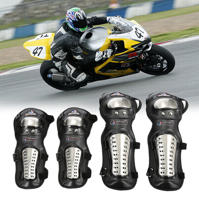 4pcs/set New Stainless Steel Motorcycle ATV Racing Motocross Protective Gear Knee Elbow Shin Pads Cap Guards Armor Protection