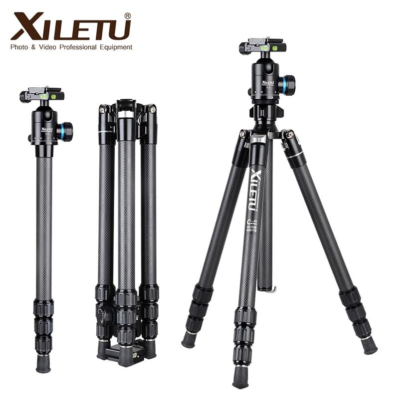 XILETU XT-264C T-1 Carbon Fiber Professional Camera Tripod Travel Stand for DSLR Nikon Digital Camera with Panorama Ball Head