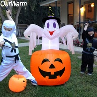 OurWarm Halloween Inflatable Blow in Pumpkin Up Scary Outdoor Yard Decoration DIY for Home Festival Supplies 142cm*87cm