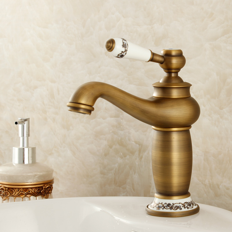 2015 New Arrival Kitchen Faucet Tap Fashion Copper Antique And Porcelain Counter Basin Hot Cold Faucet Vintage Wash Single Hole copper infrared intelligent automatic induction type single tap faucet wash