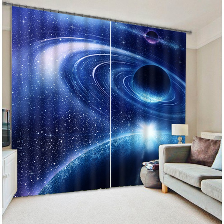 Galaxy Universe 3d Photo Printing Blackout Curtains For
