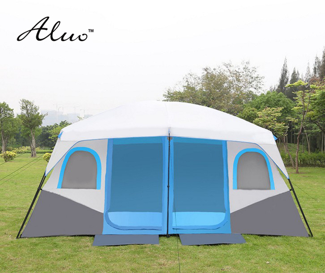 Large space tent Outdoor 8-10 people two-bedroom tent camping equipment super large tent family barbecue automatic double layers