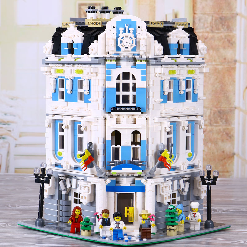 New Lepin 15018 3196pcs Creator City Series Sunshine hotel MOC Model Building Kits Brick Toy Compatible legoed new 3196pcs lepin 15018 moc city series the sunshine hotel set building blocks bricks educational toys diy children day s gift