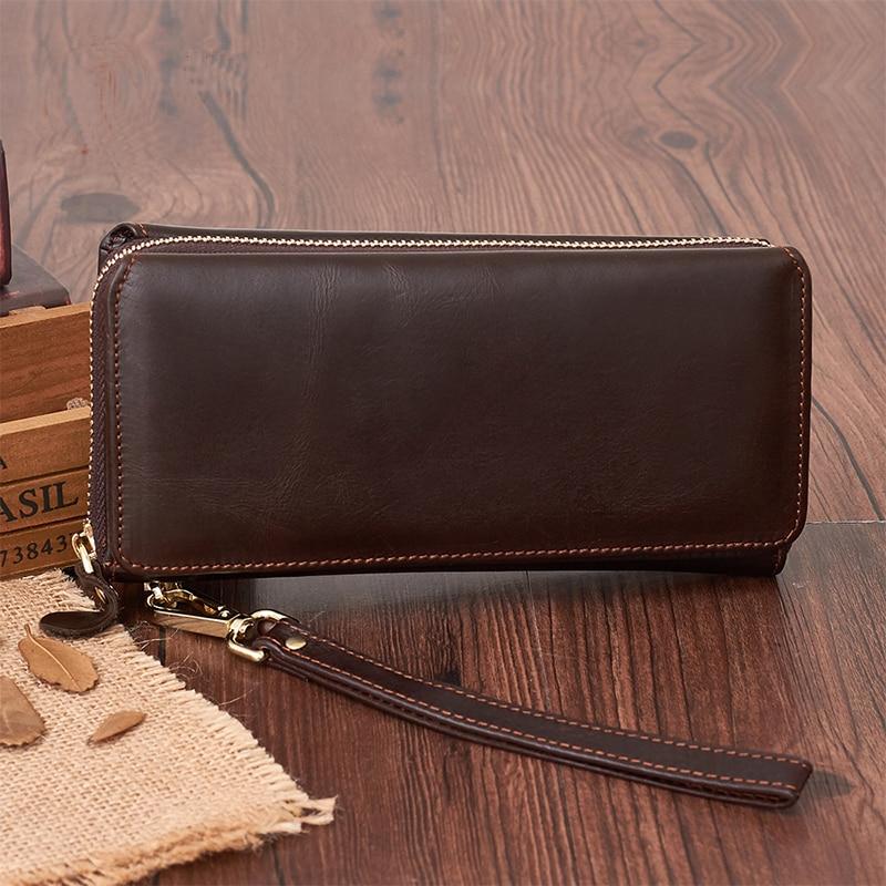 Genuine Leather Men Long Wrist Wallet Coin Pocket Card Holder Business Zipper Bifold Cash Clutch Handy Bags Natural Skin Purse