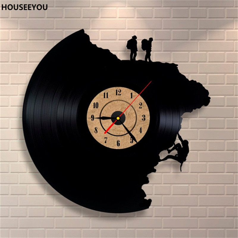 Large home decor wall clocks vinyl record clock climbing for Vinyl records decorations for wall
