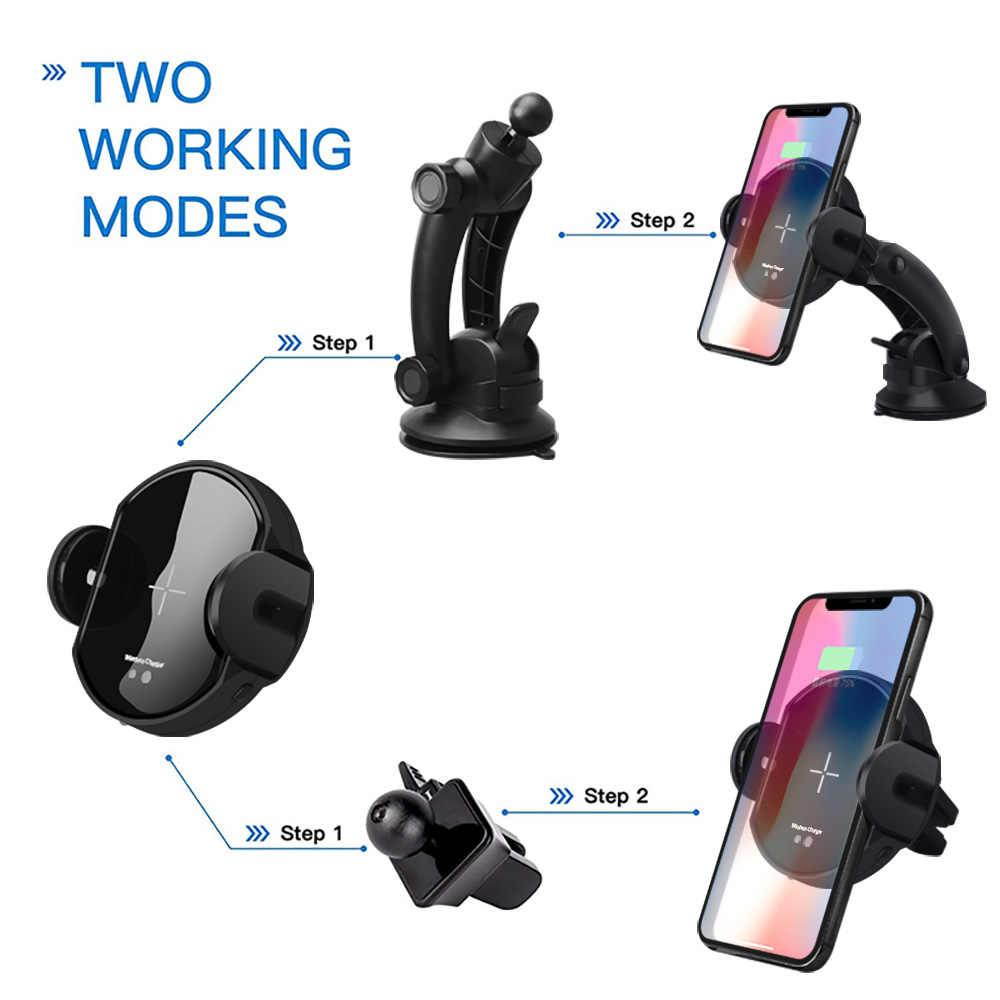Dcae Otomatis Sensor Inframerah Qi Wireless Pengisian Pemegang Cepat Charger Mobil untuk iPhone X Max XR X 8 Xiaomi Huawei samsung S9 S8
