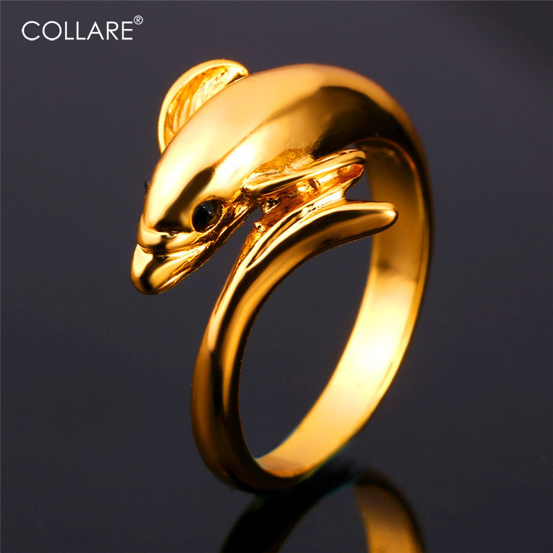 Collare Dolphin Ring For Women Gold/Silver Color Cocktail Party Wedding Bands Ring Men Anime Wholesale Jewelry R105