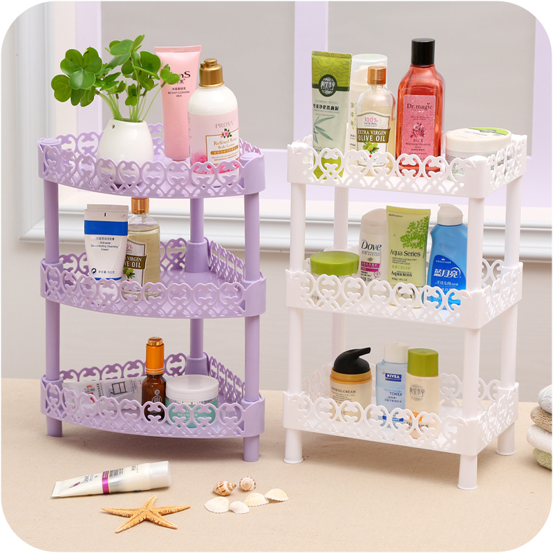 diy 3 layers plastic desk storage rack wall corner shelf organizer bathroom debris shelves home storage