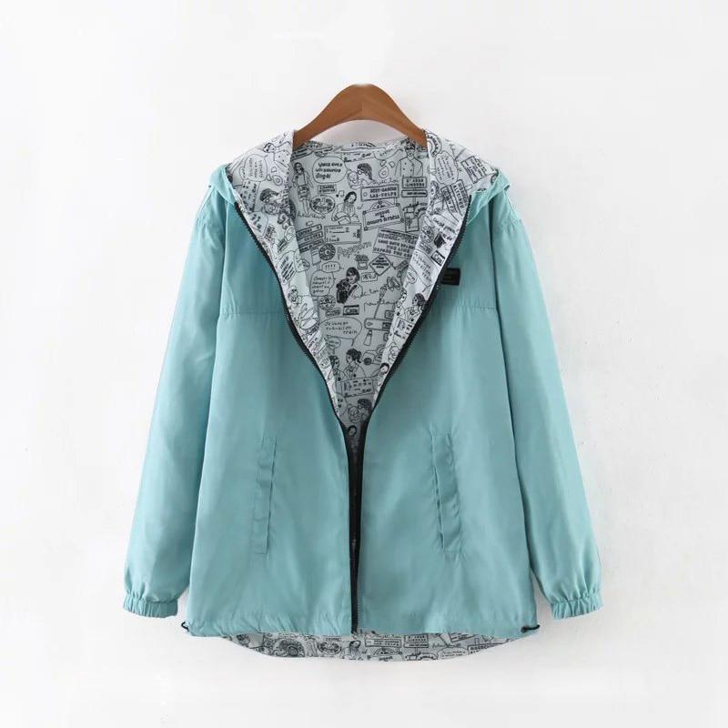 2019 Spring Autumn Women Basic Jacket Coat Two Side Wear Cartoon Print Pocket Zipper Hooded Jackert Windbreaker Outwear Female