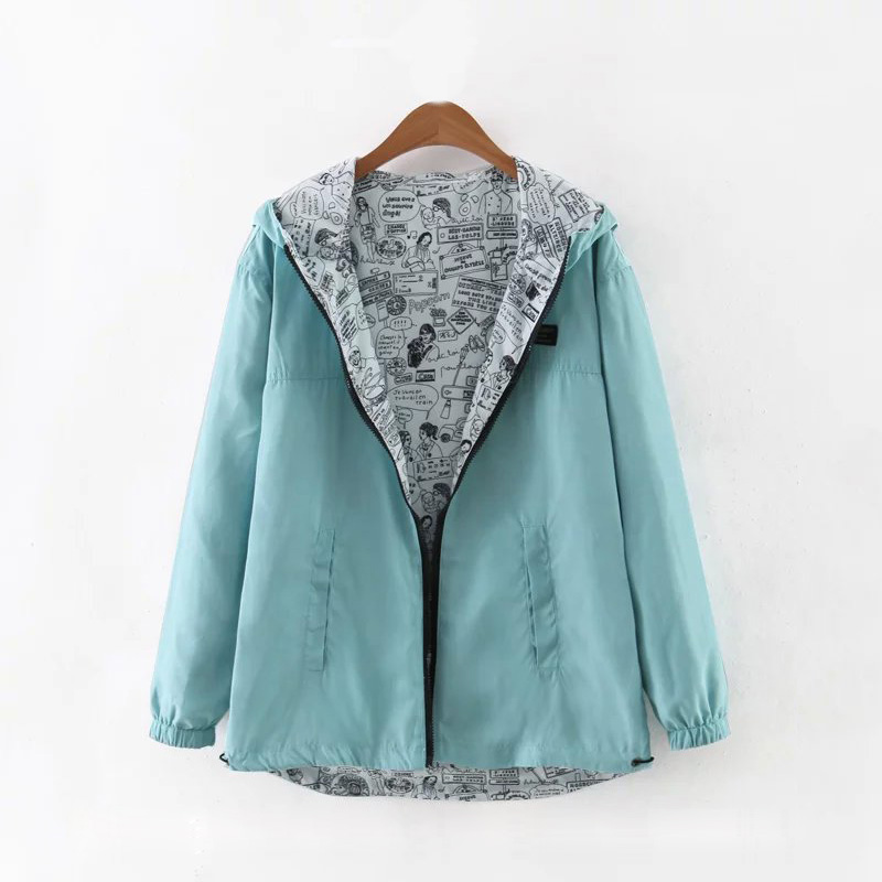 2019 Spring Autumn Women   Basic     Jacket   Coat Two Side Wear Cartoon Print Pocket Zipper Hooded Jackert Windbreaker Outwear Female