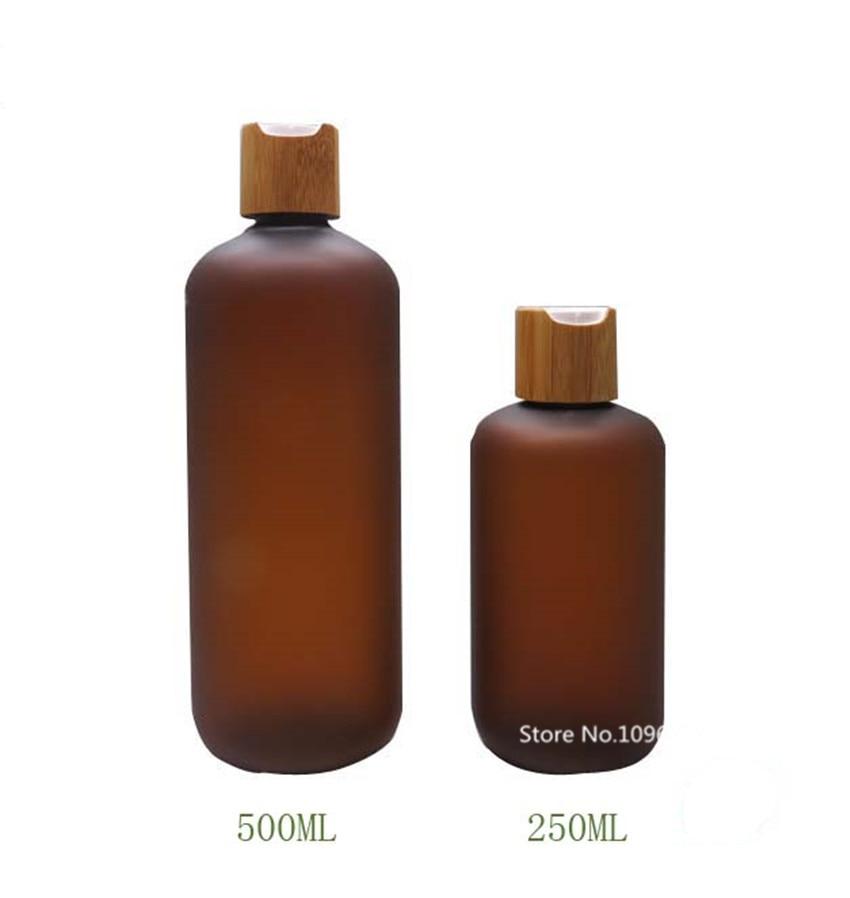 10PCS Bamboo Bath Foam Bottle Plastic PET Refillable Bottles With Press Pump Cap Empty Shampoo Bottle Press Bottle 250ml 500ml
