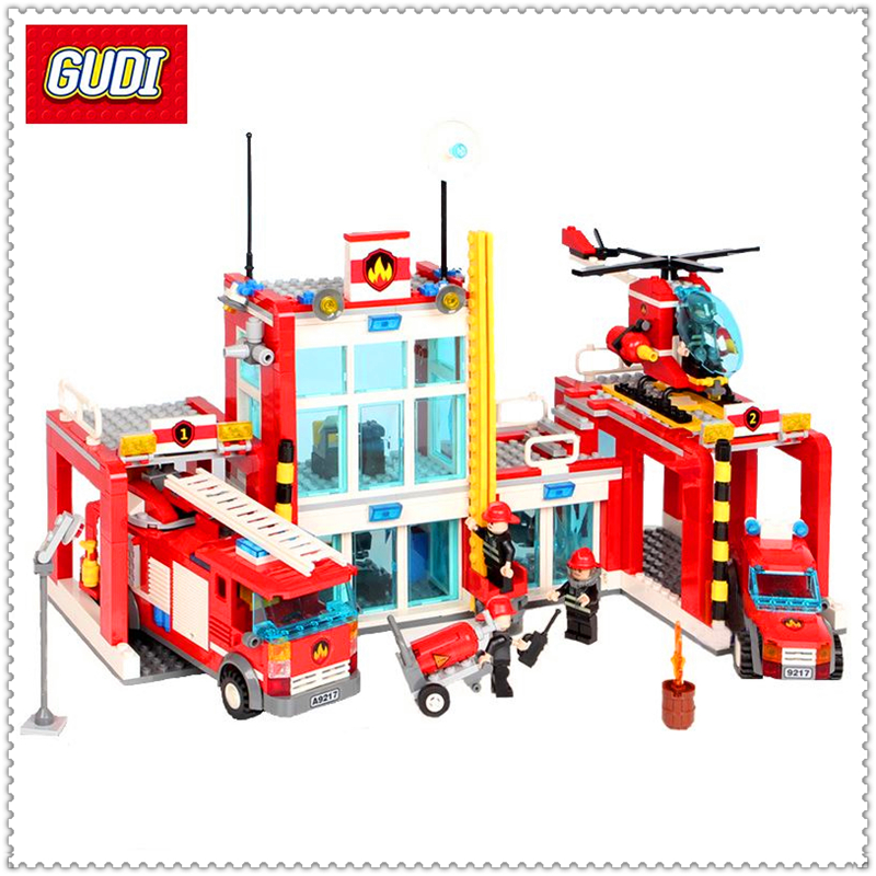 GUDI 9217 874Pcs City Fire Station Helicopter Firemen Building Block DIY Educational  Toys For Children Compatible Legoe gudi city fire emergency truck diy building block sets brick collectible 431pcs safe educational toys for children gifts