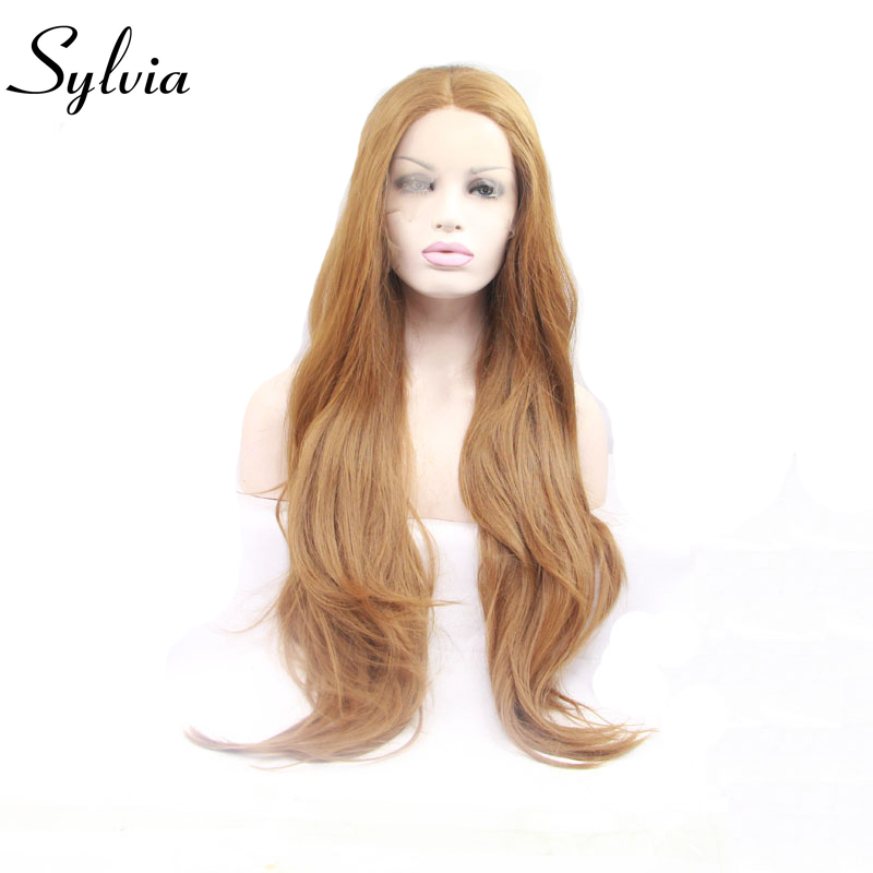 sylvia light brown color natural straight synthetic lace front wigs with middle parting heat resistant fiber hair