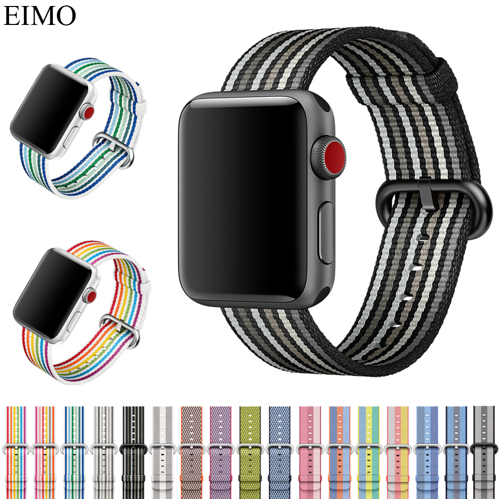 EIMO Woven Nylon bracelet Strap for Apple Watch Band 42mm 38mm Iwatch Series 3/2/1 Replacement Wrist Belt Watchband Accessories mu sen woven nylon band strap for apple watch band 42mm 38 mm sport fabric nylon bracelet watchband for iwatch 3 2 1 black