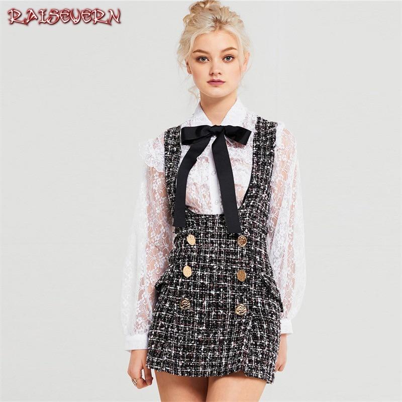 RAISEVERN Britannico di Stile Plaid Tweed Delle Donne Mini Vestito Inverno Sleevesless Doppio Pulsante Elegante Delle Signore Della Cinghia del Vestito Femme Abiti
