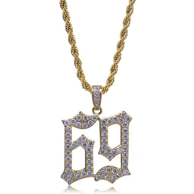 f6a05335d533 Lucky Sonny Cool número 69 colgante collar raperos moda Hiphop cobre joyería  circonio blanco Micro pavimentado
