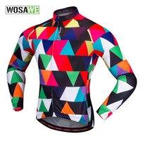WOSAWE Herbst Neue Volle Hülse Radfahren Jersey Atmungs MTB Rennrad Mantel Bunte Fahrrad Bicicleta Tuch Trikots-in Rad-Trikots aus Sport und Unterhaltung bei
