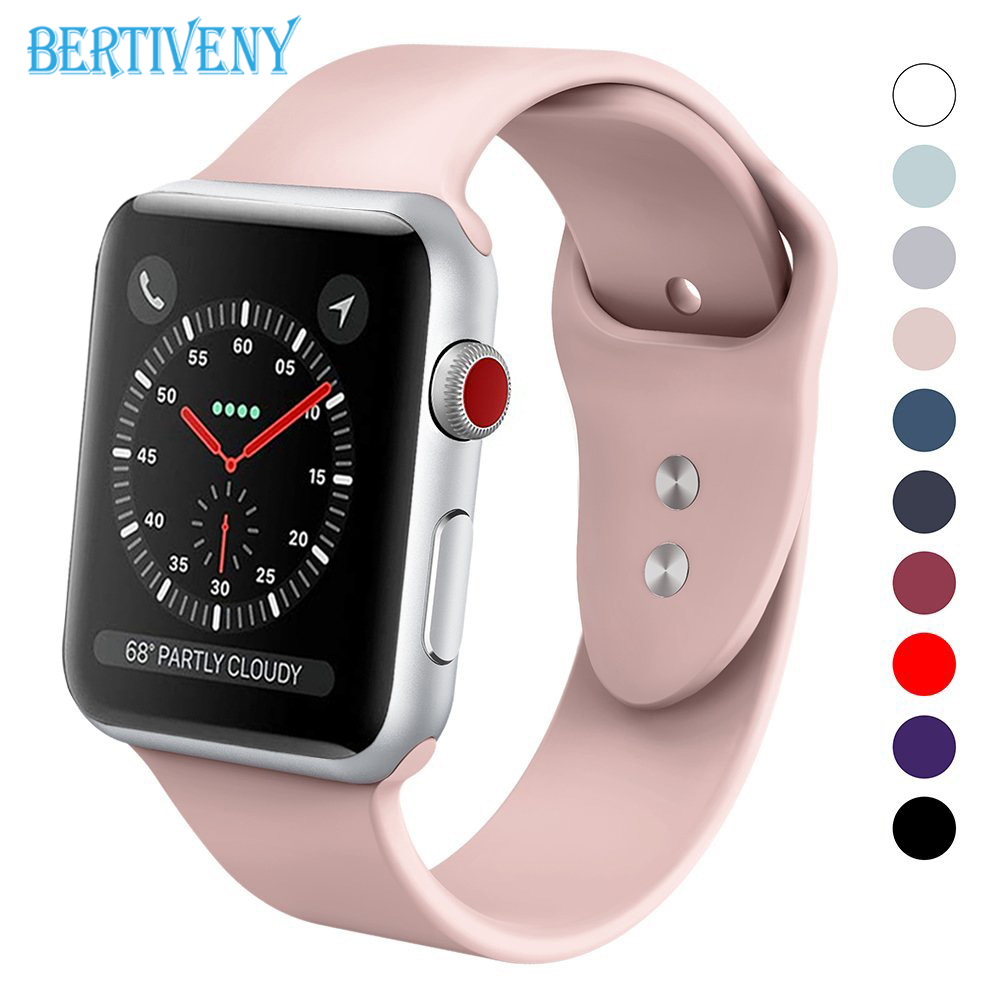 Silicone band for Apple Watch 38mm 42mm Replacement Sport Strap Rubber Wristband for iwatch series 3 2 1 watchband цена